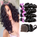 7A Malaysian Loose Wave With Closure 3 Bundle Deals Wet And Wavy Human Hair With Closure Malaysian Virgin Hair With Lace Closure