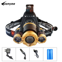 Flashlight forehead Headlamp RechargeableT6 LED Lantern Body Induction XM L T6 18650 Battery Fishing Lamp + Charger Head Torch