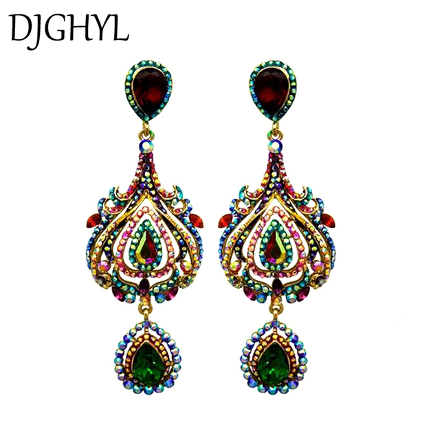 Fashion brand jewelry Long drop earrings for women color Rhinestone crystal  tulip flower tassel big earrings 6cb54abf3e4c
