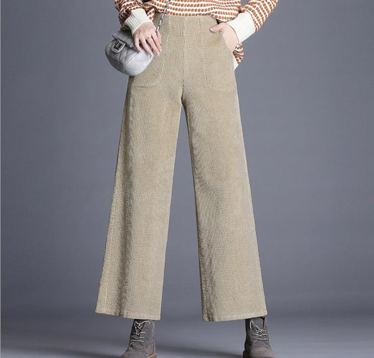 Corduroy pants women s autumn and winter 2018 new loose thin nine points  wide leg pants large size trousers 6358d4639b