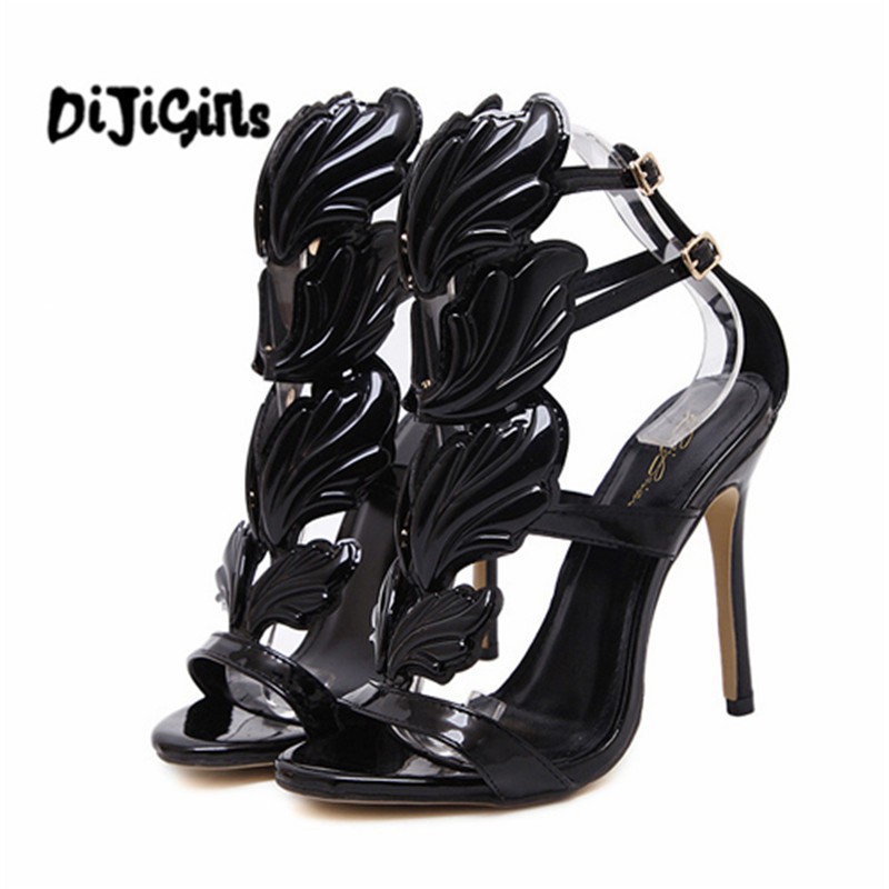 New Summer Women High Heels Gold Winged Leaves Cut-outs Stiletto Gladiator Sandals Flame Party High heel Sandal Shoes Woman 2015 new deluxe brand 100% high quality flat summer women knee high gladiator sandals genuine leather cut outs cover heel shoes