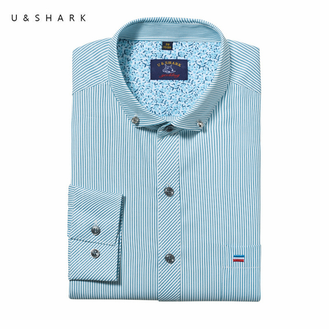 Stylish Slim Fit Blue Striped Shirt Men Long Sleeve Social Camisa Masculina U&Shark Quality Mens Dress Shirts Cotton Chemise
