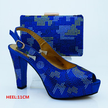 Royal Blue Color African Shoes and Matching Bags Italian Design African Shoes and Bags Matching Set Women Shoe and Bag  CP63007