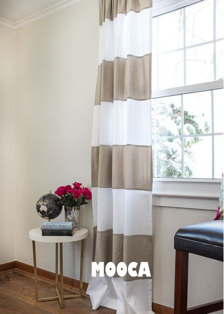100 cotton taupe and white horizontal stripe curtain panel curtain