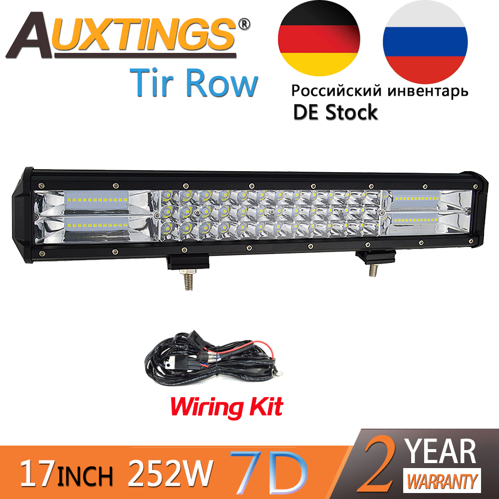Auxtings 17-18inch 252w Tri rows movable bracket IP67 waterproof high power high lumens 7D LED light bar offroad 4x4 car light гетры nike резервные nike