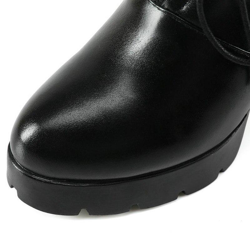Talons Cuir forme Bottes Plate Lace Cheville À Noir Carré Mode Hauts Femme Chaussures Robe En Véritable Up pYt55