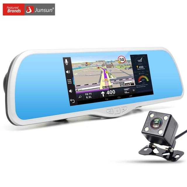 "Junsun 7"" Touch Car Camera DVR GPS Navigation Dual Lens Rearview Mirror Video Recorder FHD 1080P Automobile DVR Mirror Dash cam"