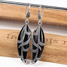 JIASHUNTAI Retro 100% 925 ayar gümüş yaprak şekli küpe kadınlar için Vintage doğal taşlar küpe kadın tay gümüş takı