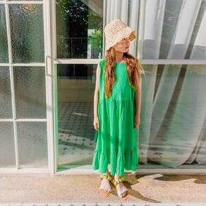 Image 5 - العلامة التجارية الفتيات فستان أطفال فستان الشمس 2020 طفل فستان صيفي القطن ماكسي طويل الأطفال الترفيه فستان طفل عادي مطاطا ، #5267