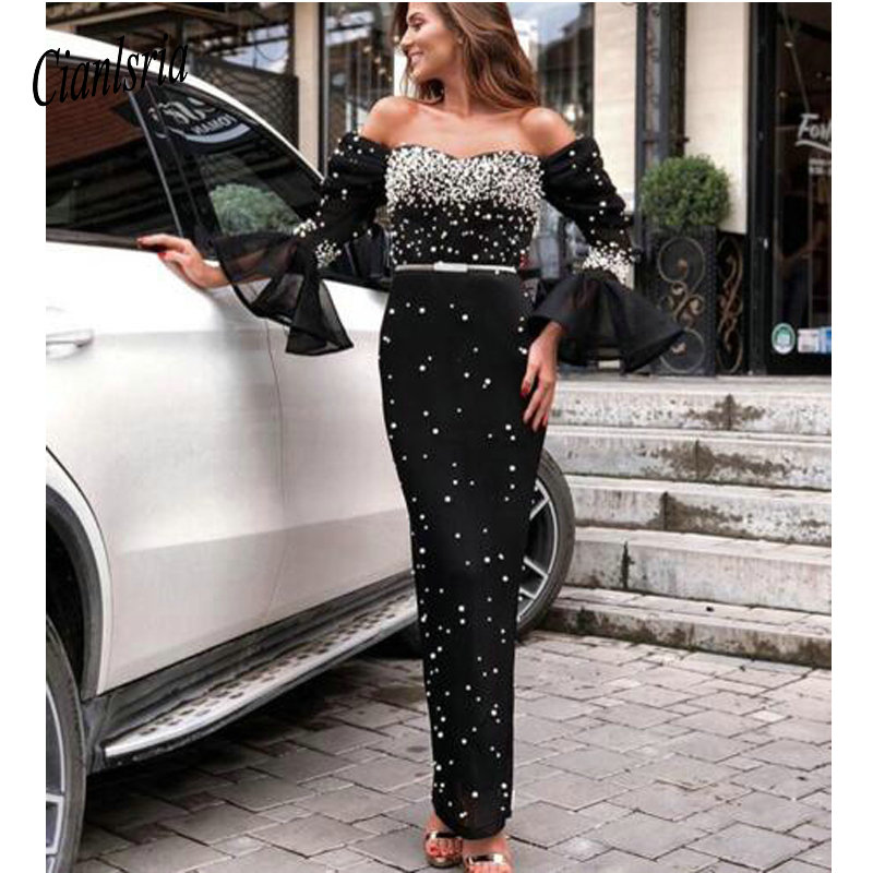 Black   Cocktail     Dresses   Long Sleeves Off the Shoulder Beaded Tea Length Plus Size Sweetheart Formal Occasion Party Gala Gowns