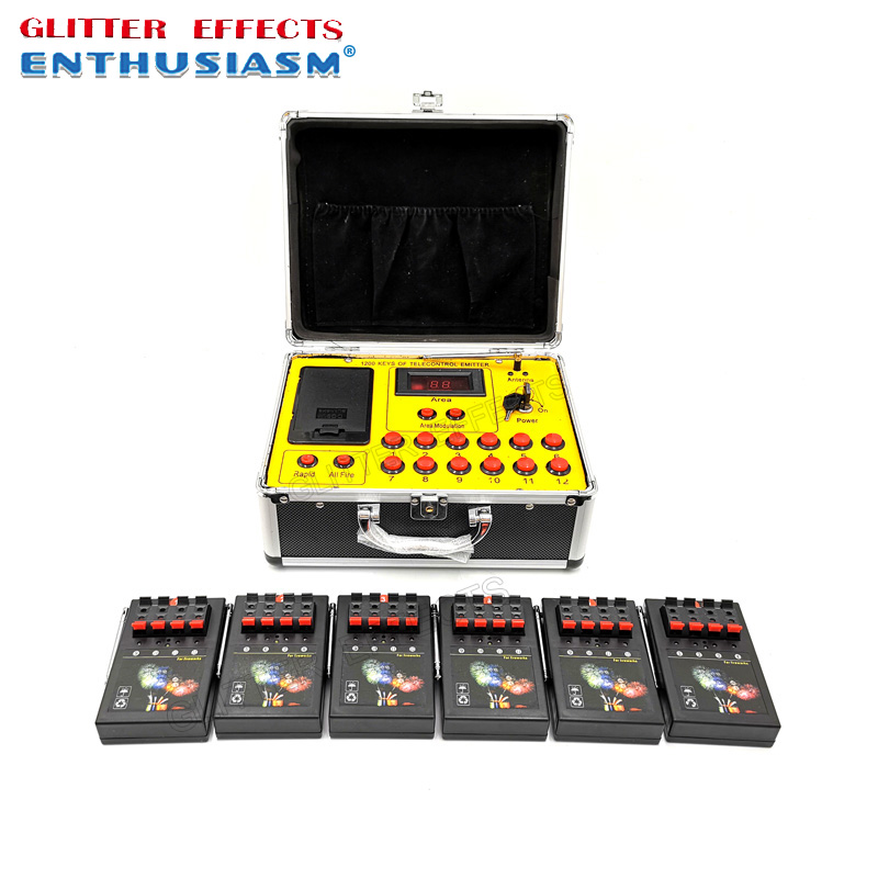 1200 Group 24 Channel Cues Transmitter Connect 6pcs 4 Channel AM04R Remote Radio Fire DBR01X-24 Wedding Machine
