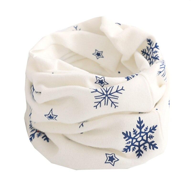 Осенне-зимний детский хлопковый шарф для девочек и мальчиков теплые шарфы Детский круглый кольцевой ошейник Детский шарф детский волшебный шейный платок - Цвет: white snow