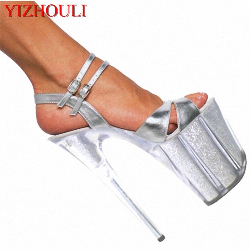 Ultra high heels 20cm temptation black sandals women's shoes 8 inch sexy lady fashion star shoes Hand Made High Heel Shoes электрокотел savitr star ultra 21квт 380в