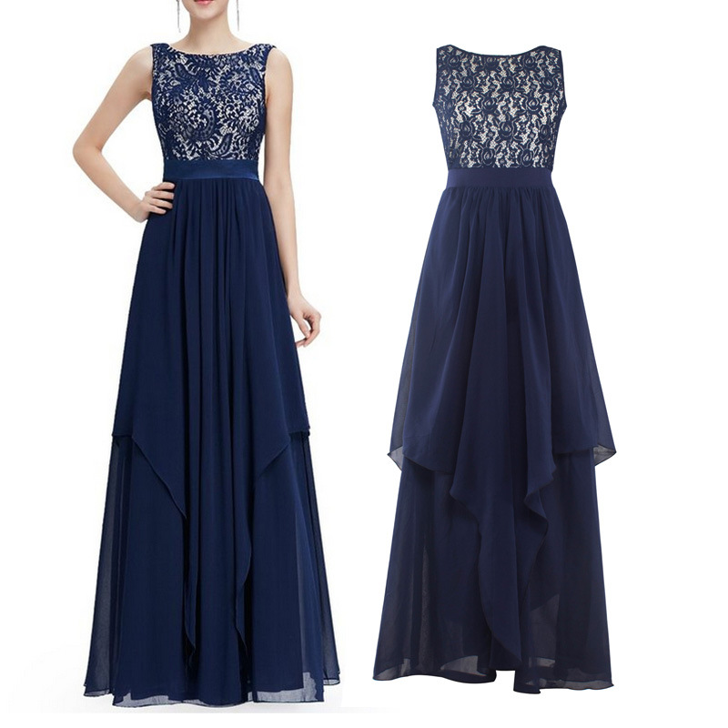 Oxiuly Dark Blue Lace Maxi O Neck Elegant Hollow Out V Back Party Wear Floor Length Long Party Club Irregular Dress Vestidos