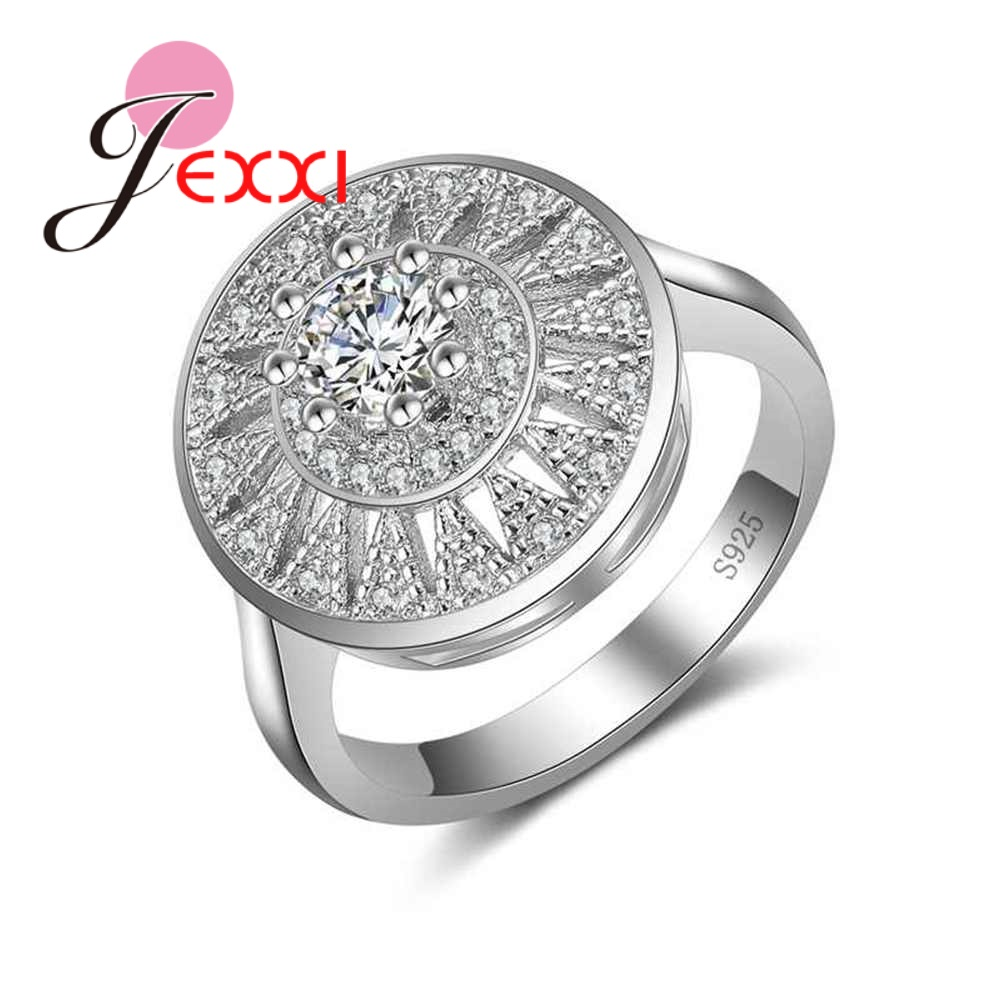 JEXXI Lowest Price S90 Silver Jewelry Fashion Round Flower Crystal Ring for Women Female Wedding Party Accessories