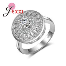 O mais baixo preço 925 prata esterlina jóias moda redonda flor cristal anel para feminino acessórios de festa de casamento