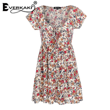 Everkaki 2018 Summer Women Boho Floral Print Mini Dress Vestidos Bow A Line Dress Deep V