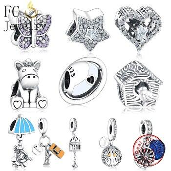6030711c4a96 FC joyería Original Pandora Charms pulseras de plata de ley 925 Nueva York  destacar esmalte colgante de cuentas haciendo Berloque