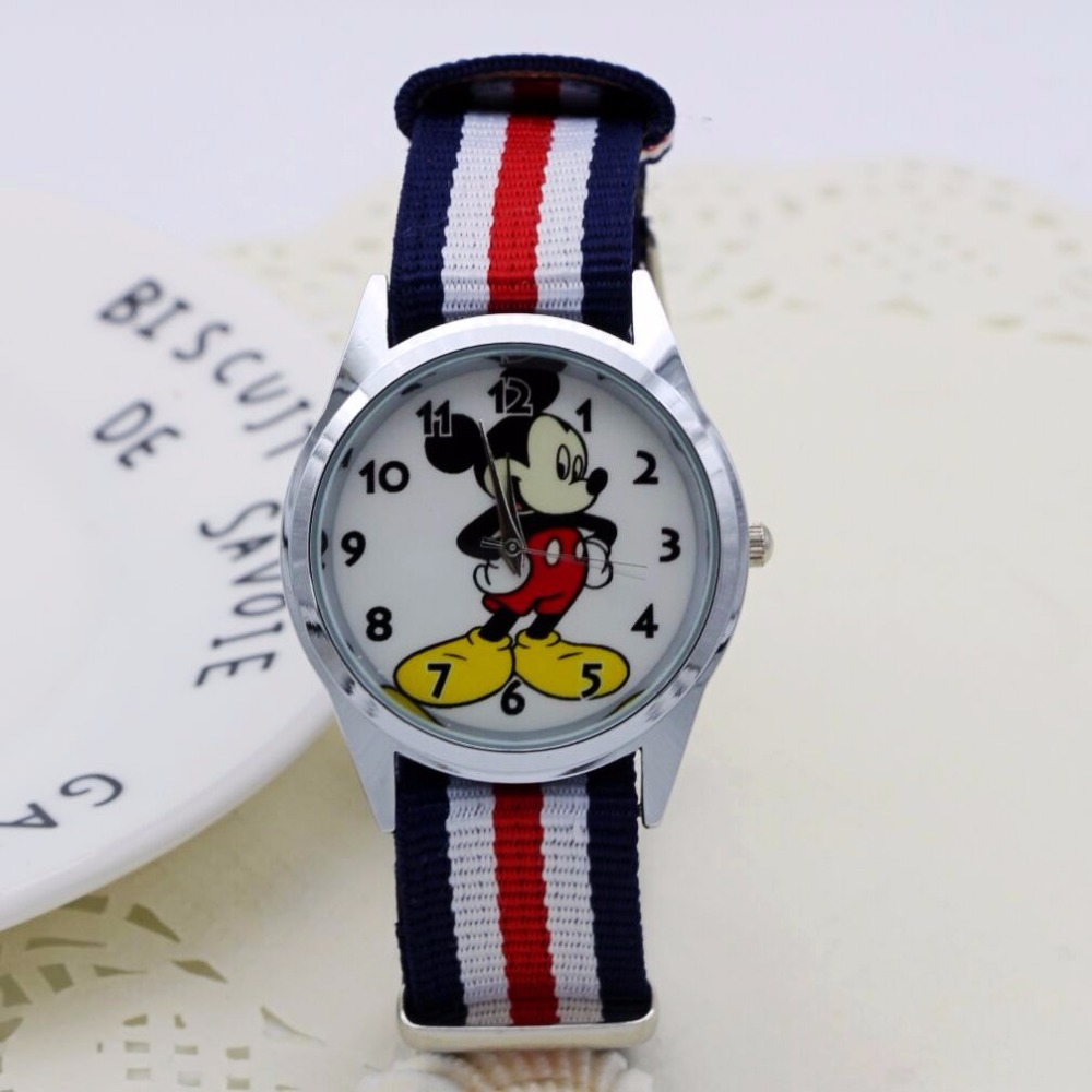 Fashion Cartoon Cute Mickey Minnie Mouse Style Children's Watches Kids Student Girls Boys Quartz Nylon Strap Wrist Watch