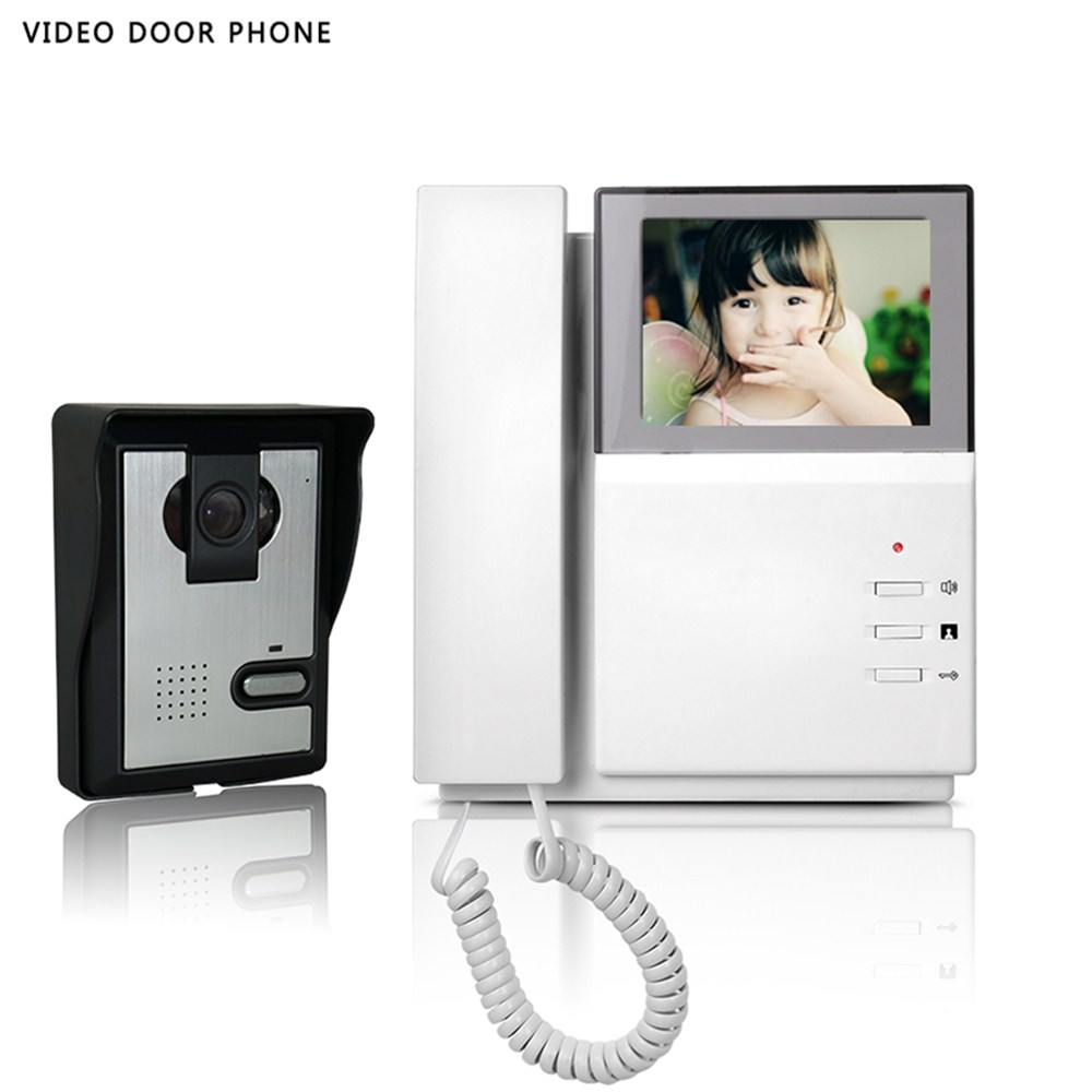 Hot sale video intercom system 4.3''tft lcd handset screen one monitor wire video doorphone for villa night vision one panel home security video door phone intercom system 7 tft lcd screen one monitor wire video doorphone for villa night vision camera