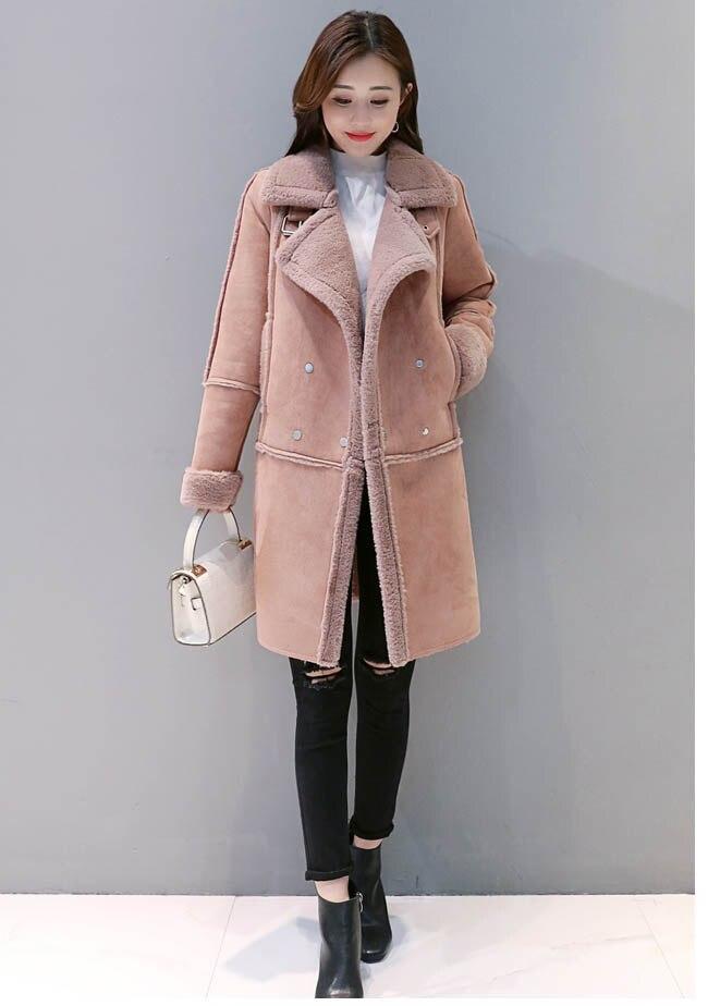 Long De Hiver Col Mince Plus Manteau Agneau Peau S Fourrure Pardessus Chaud Taille Nouvelles Laine Épais xxl La Femme Daim Femmes 2018 Xxwq60nC