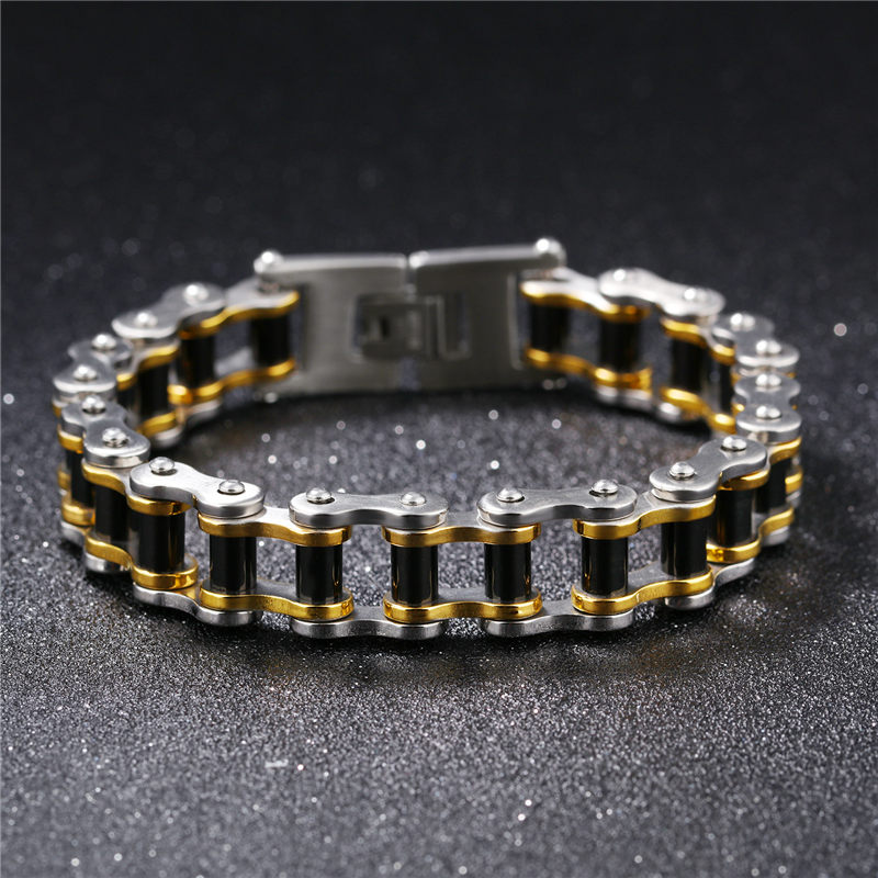 V.YA Stainless Steel Mens Bracelet Fashion Sports Jewelry Biker Bicycle Chain Link Bracelet Casual Jewelry for Man Gift Dropship