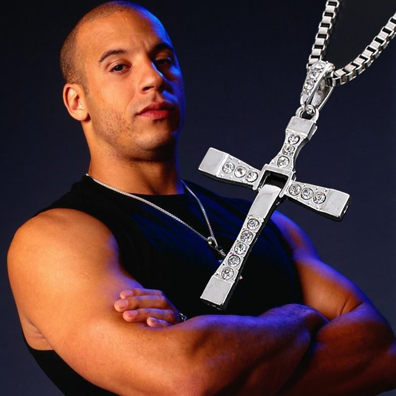 Hot Movie Fast and Furious Silver Gold Colors Jewelry Pendant Dominic Toretto Cross Men's Necklace Pendant -30