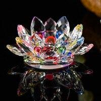 Ручной работы кристалл цветок лотоса Подсвечники 7 цветов подсвечник Стекло свеча стенд для стол центральные Домашний Декор