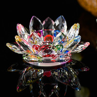 K9 Crystal Lotus Candle Holders 7 Colors Europe Bowl Candlestick For Candelabra Centerpieces Wedding Home Bar