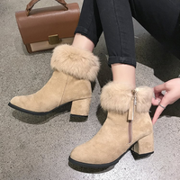 New women's Martin boots round head with thick with rabbit fur high end temperament suede women's boots