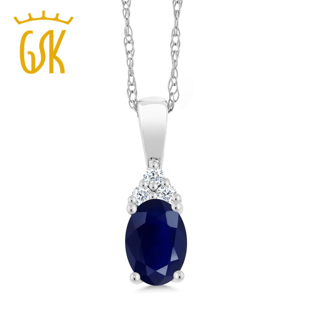 """GemStoneKing 10K White Gold Pendant and 18"""" Chain Natural Blue Sapphire with Diamond Accent Women's Pendant"""