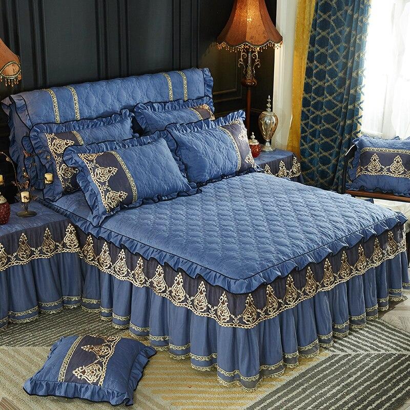 ฤดูหนาว Warm หนาแผ่นติดตั้งปลอกหมอน 1/3 ชิ้นสีเทาเครื่องนอนที่นอนลูกไม้ Princess ผ้าคลุมเตียงผ้าคลุมเตียง king Queen-ใน ผ้าระบายขอบเตียง จาก บ้านและสวน บน   3