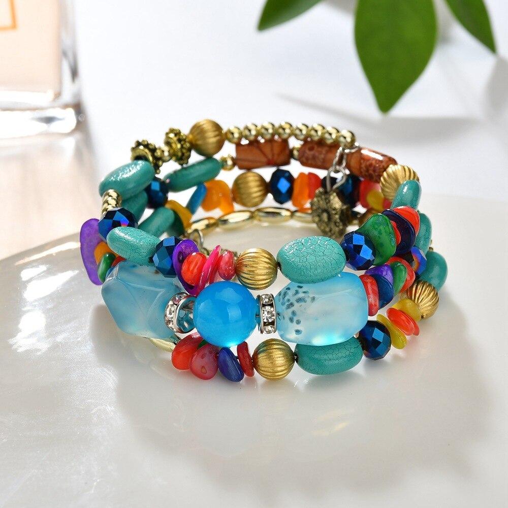New Multilayer Resin Beads Charm Bracelets for Women Bohemia Boho Bracelet Crystal Bracelets & Bangles Pulseras Ethnic Jewelry