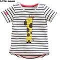 Little maven das crianças marca de roupas de verão 2017 meninos do bebê/meninas de algodão impressão girafa dos desenhos animados t shirt crianças unisex tee tops t009