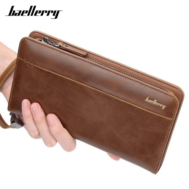 Baellerry Big Capacity Wristlet Clutch Wallets Men Leather Zipper Cell Phone Long Wallet Man Carteira Card Holder Male Purse NEW