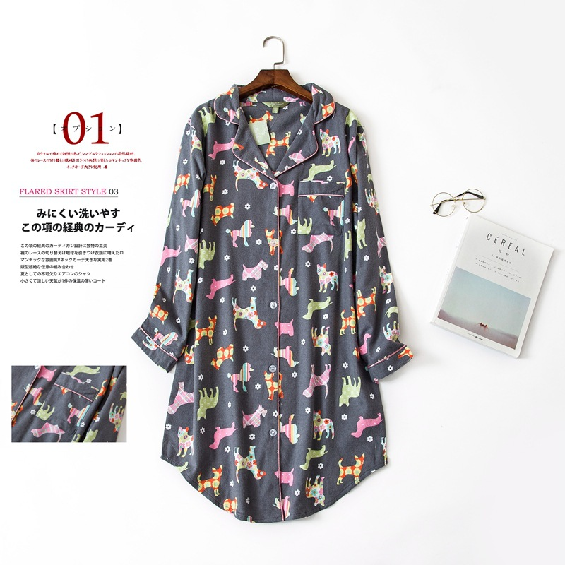 Long Sleeved 100% Cotton Nightdress Women Sleepwear Plus Size Flannel   Nightgown   Lady   Sleepshirts   Grey Puppy Home Furnishing