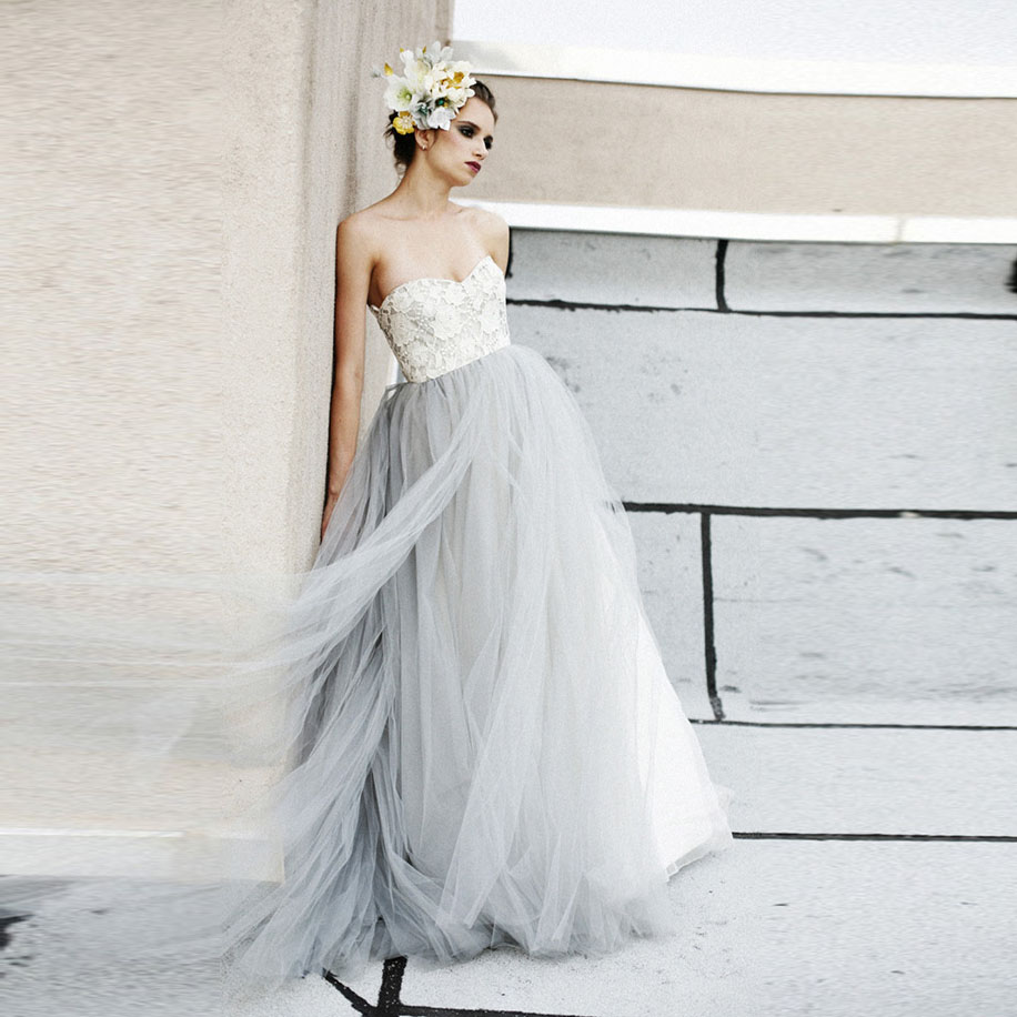 Buy vintage light gray tulle lace wedding for Buy beach wedding dress