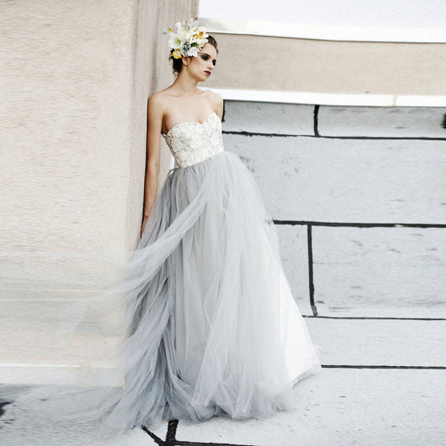 Vintage Light Gray Tulle Lace Wedding Dresses Puffy 2016 Beach ...