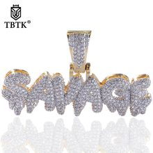 TBTK Iced Out CZ Costume Jewelry Pendant Statement Letter Necklace SAVAGE Water Drop Shape Double Color Pendant Custom Necklace(China)