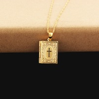 Newest Jesus Cross Jewelry Gold Color Jesus Cross Pendant Book Cross Pendant Necklace With 45cm/60cm Chain
