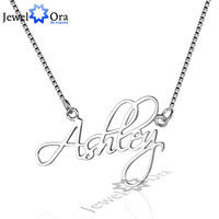 DIY Christmas Gift Name Engrave Pendant Personalized 925 Sterling Silver Name Necklace With Box JewelOra NE101640