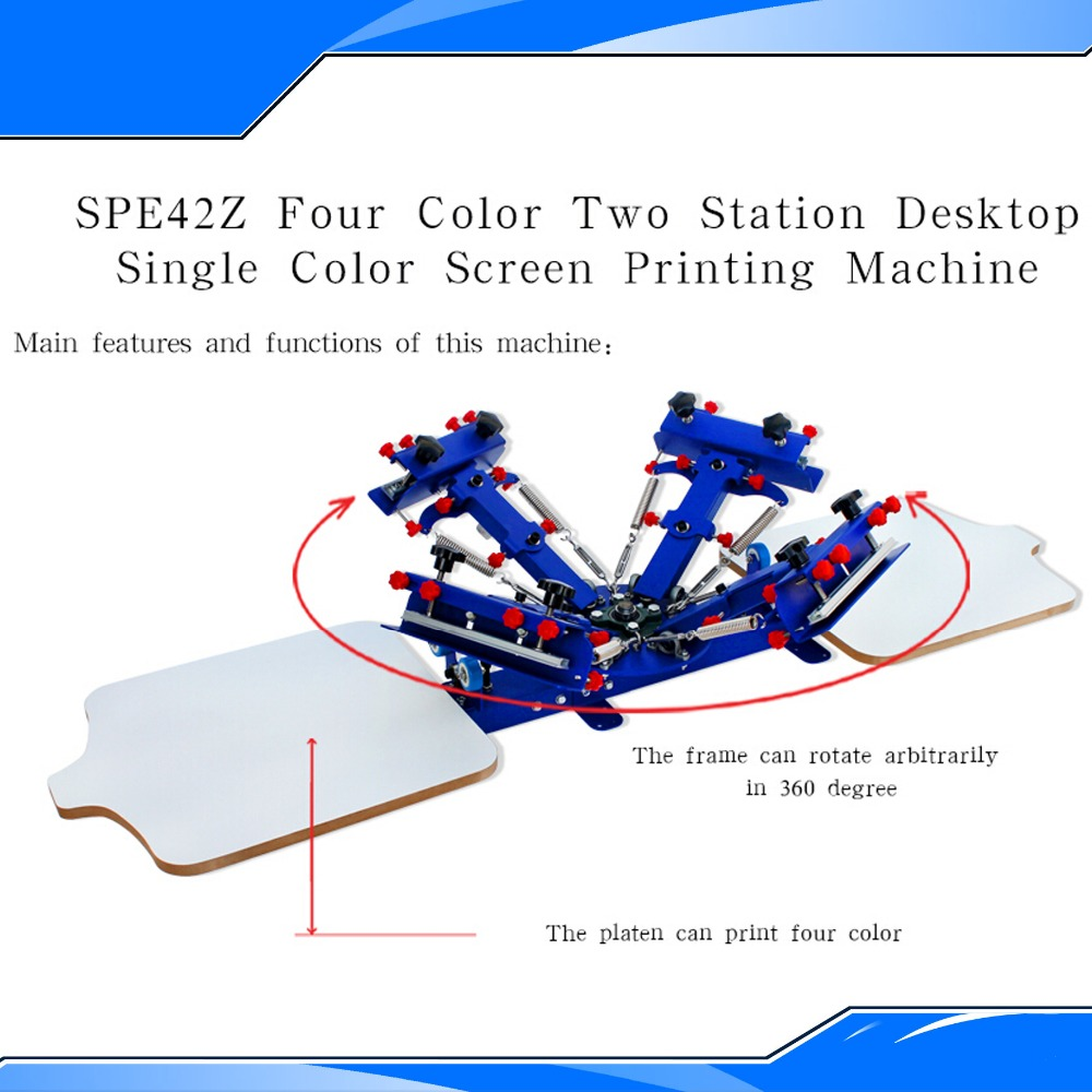 New Design 2015 Four Color And Two Station Screen Printing Equipment Silk Screening Press Diy