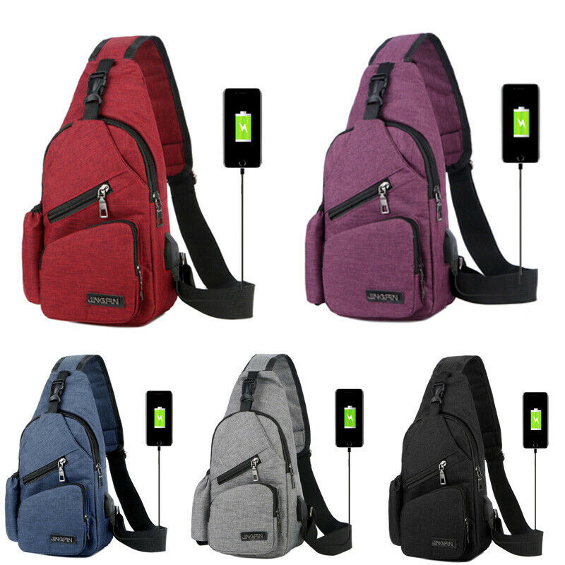 Men Women Nylon Sling Bag Backpack Crossbody Shoulder Chest Cycle Daily Travel