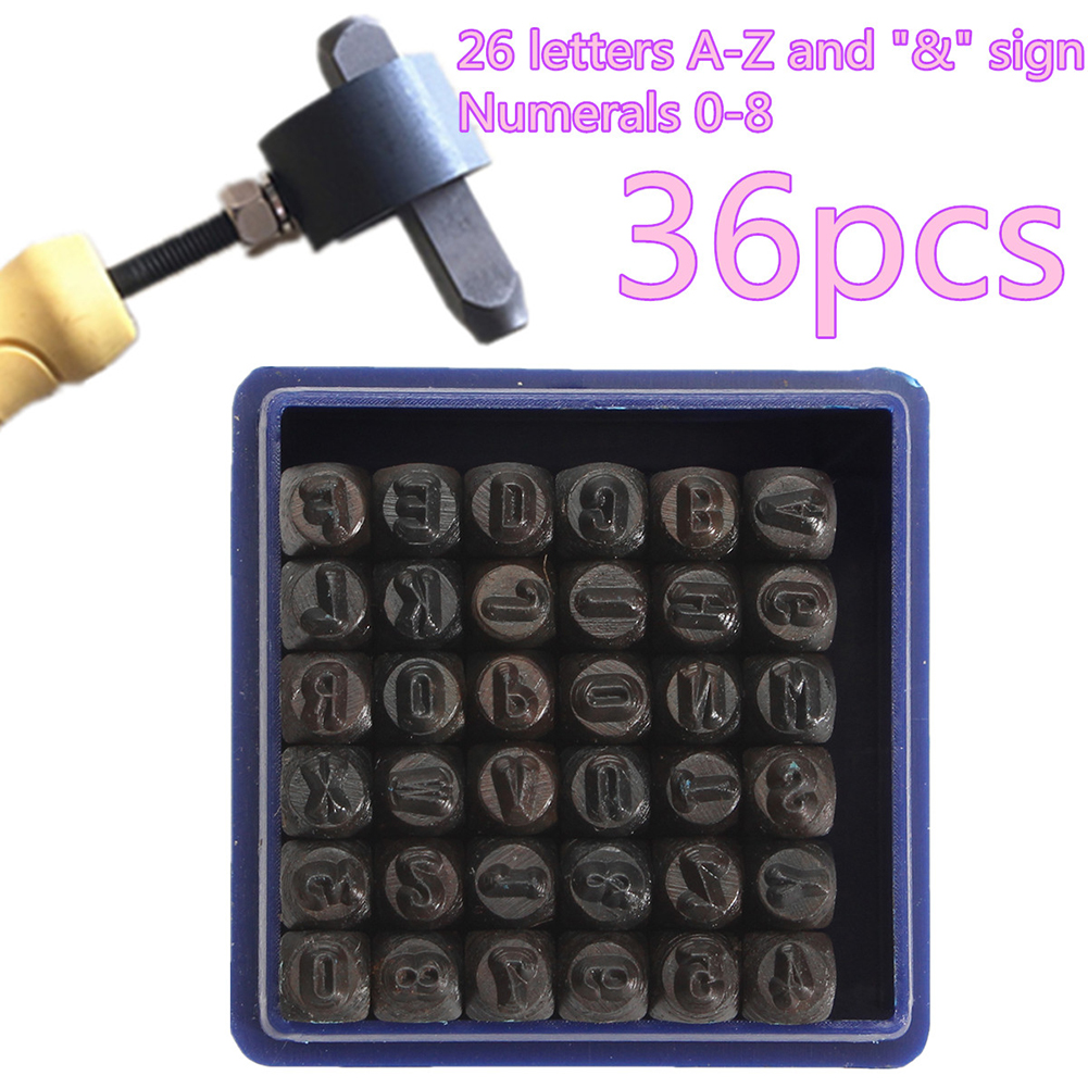 36Pcs 3/4/5/6mm Carbon Steel Number 0-9 Alphabet A-Z Stamps Set Punch Tools