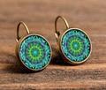 earrings jewelry for women om symbol buddhism,zen charm henna yoga earrings green mandala earring c-e185