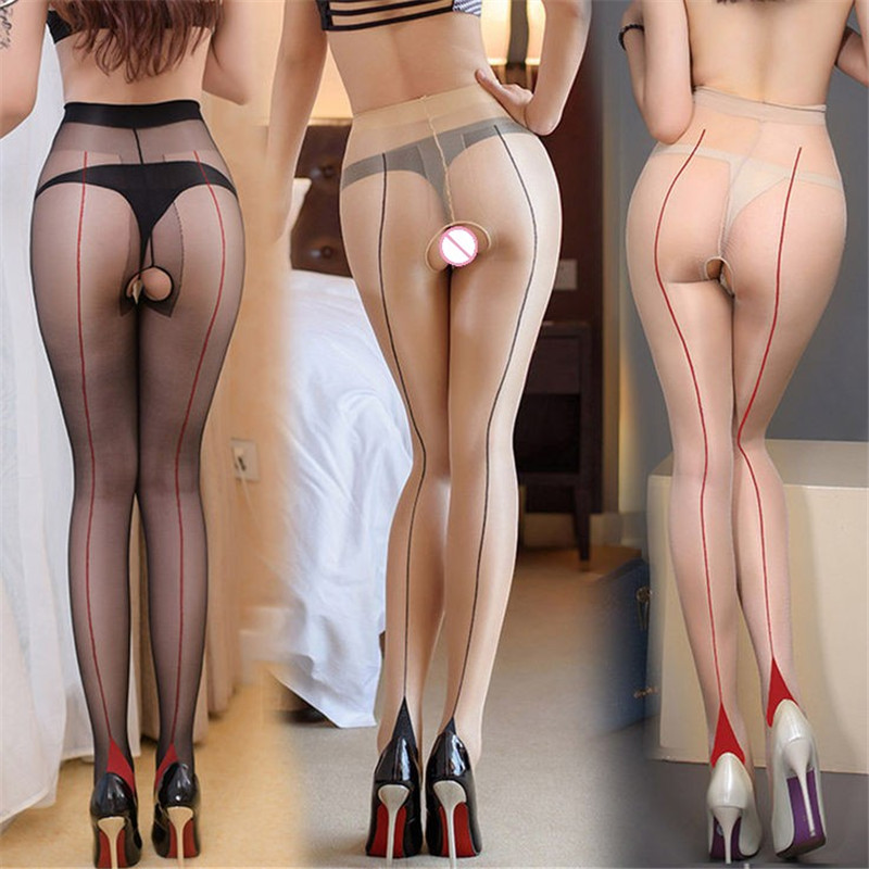 Sexy Tights Stockings For Women Ladies Erotic Lingerie Open Crotch High Waist Pantyhose Cuban Heel Seam Thigh High Stockings