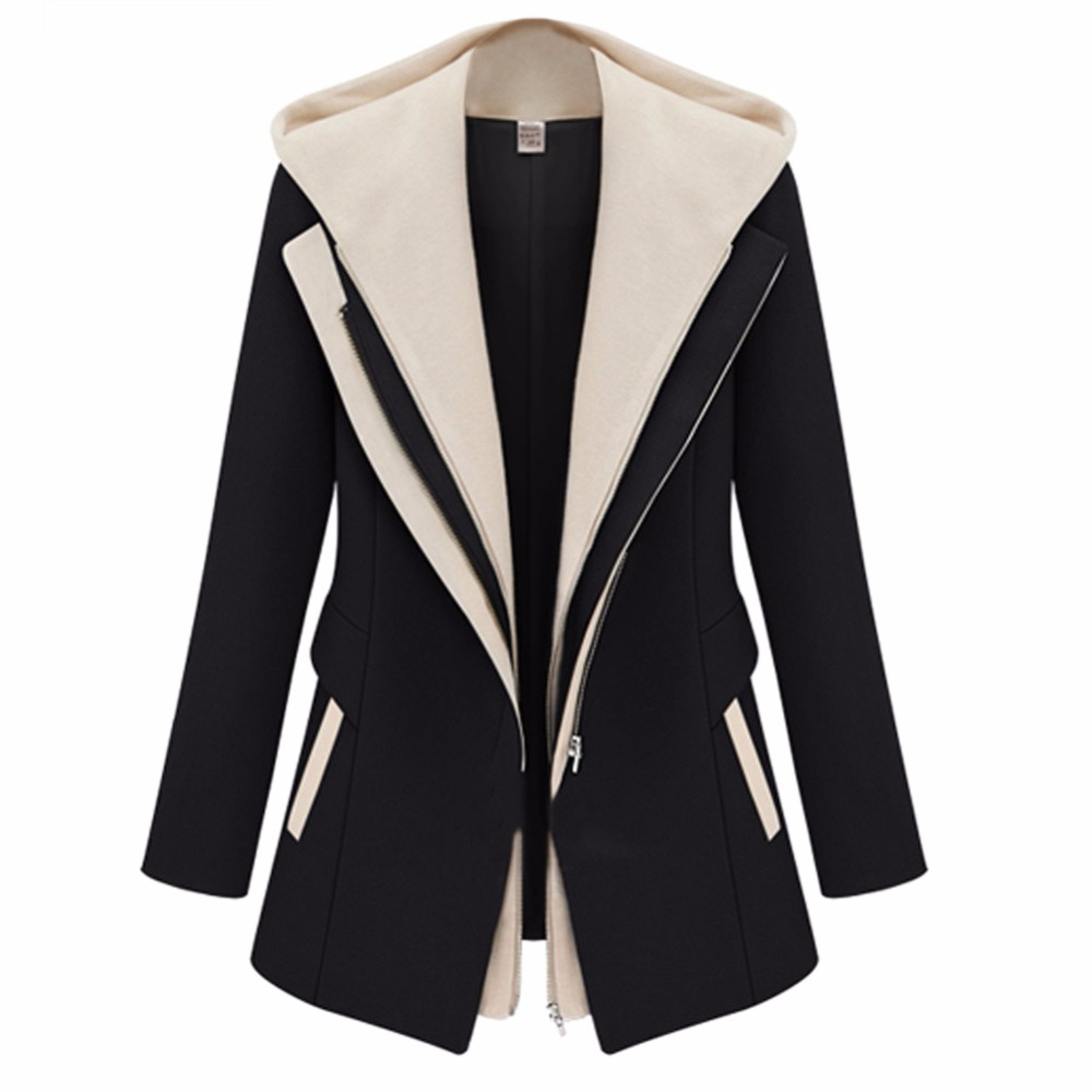 IMC Women Slim Zipper Long Sleeve Jacket Hooded Outerwear Coat Top