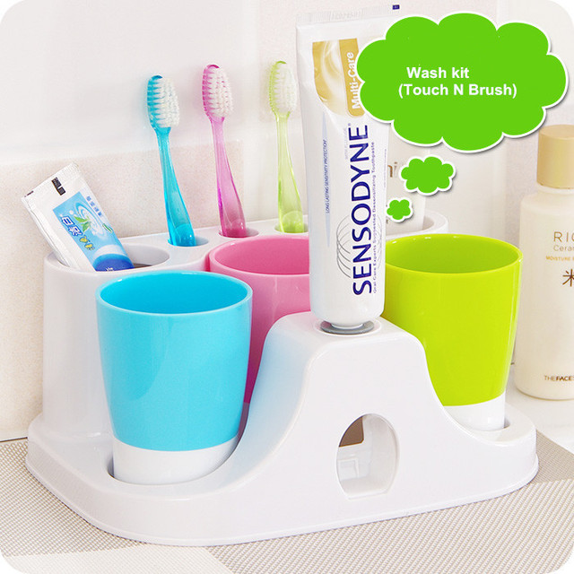New Creative Korea Cute Toothbrush Holder Tooth Glass Set Loversu0027 Tooth  Paste Dispenser Set Tooth