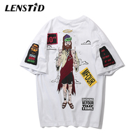 LENSTID Harajuku Japanese Style Urban Streetwear T Shirt Patchwork Summer New Hip Hop T shirt Letter Print Top Tees Funny Tshirt