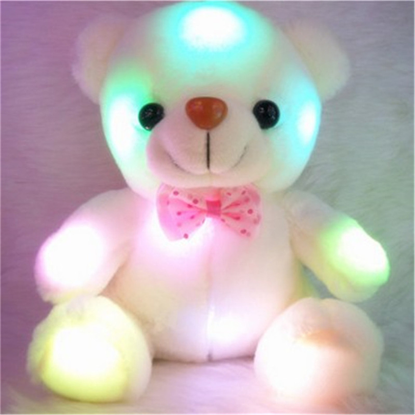 Kids Favorites Night Lamp Cute 22cm Lovely Soft LED Colorful Glowing Teddy Bear Light Stuffed Plush Toy Gifts For Birthday Party glowing sneakers usb charging shoes lights up colorful led kids luminous sneakers glowing sneakers black led shoes for boys